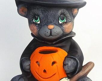 Black Cat | Ceramic Cat | Ceramic Pumpkin | Black Cat With Pumpkin | Halloween Cat | Halloween Ceramics | Hand Painted Ceramics