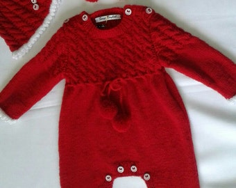 long sleevess romper,hat and booties, knitting
