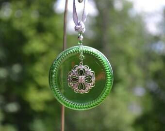 Beer Bottle Bottom Sun Catcher/Green Glass Ornament/Recycled Glass Sun Catcher