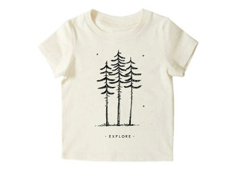 Hipster Kids Clothes, Nature Explore Shirt,  Organic Baby Clothes, Toddler Clothes, Graphic Tee, Minimalist Art, Girls Shirt, Boys Shirt