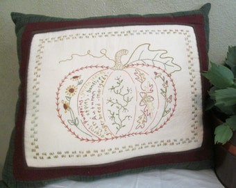Embroidered Pillow - Autumn's Harvest Pumpkin Decorative Pillow - Hand Embroidered Room Pillow