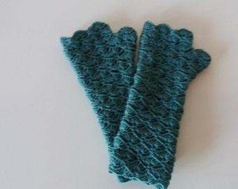 Crochet handmade fingerless gloves, arm warmers