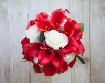 Christmas Wedding Bouquet Red White Bridal