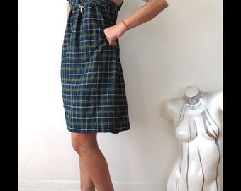 "xs/s 90s plaid schoolgirl dress 90s babydoll dress chest 25"" button dress plaid mini dress jumper dress plaid jumper"