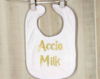 Accio Milk - Gold Harry Potter Baby Bibs Funny Bibs Funny Baby Shower Gift