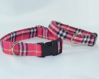 Hot Pink Plaid Tartan Dog Collar - Martingale or Buckle, Personalized, Engraved, ID Buckle