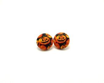 Jack o'lantern fabric button earrings, scattered pumpkin earrings, pumpkin earrings, Fall earrings, Halloween earrings, Halloween fan