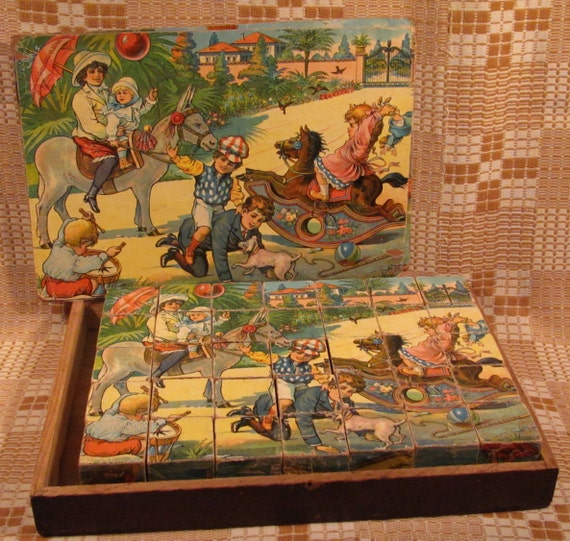 Antique Toy Wood Block Puzzle