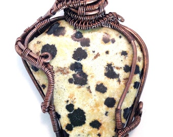 Dalmatian Stone Pendant, with Black Tourmaline, wire wrapped in copper. Learning to Lighten Up