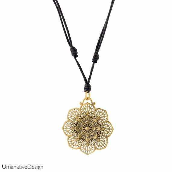 Lotus necklace. sacred geometry pendant. yoga jewelry. lotus jewelry. bohemian jewelry. gypsy necklace. flower pendant. tribal necklace.