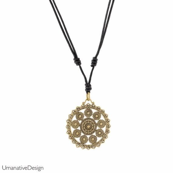 Yoga necklace. ethnic pendant. lotus. bohemian jewelry. gypsy necklace. sacred geometry pendant. tribal necklace. festival jewelry.