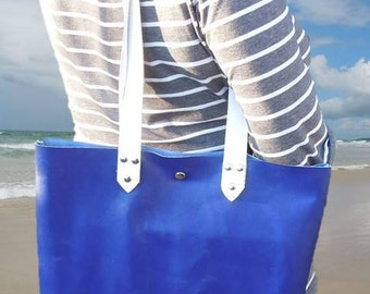 Azure Blue Leather Tote