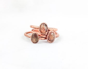 Sunstone Ring | Electroformed Jewelry | Electroforming | Sunstone & Copper Ring | Crystal Rings | Electroform Rings | Made to Order Ring |