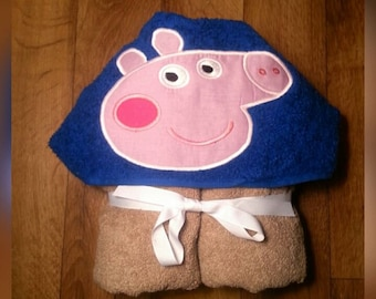 Boy Pig Hooded Towel with FREE Emboridered Name