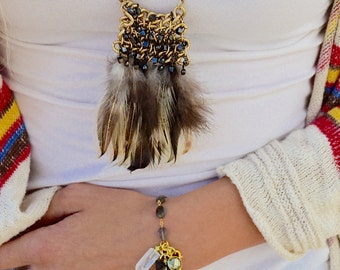 Long Gold Feather Necklace, Boho Feather Necklace, Hippie Feather Necklace, Bohemian Feather Necklace, Boho Chic Feather Necklace,