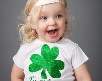 Personalized GLITTER Shamrock Onesie/Shirt - (0-24 months) (2T-12) - st patricks day shirt, st pattys day shirt, four leaf clover shirt