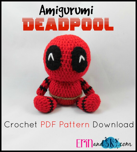 Amigurumi Geek Patterns : Deadpool pdf pattern instant download amigurumi doll by