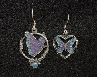 Mismatch Butterflies - silver, purple, blue fish hook earrings OOAK