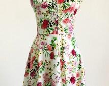 Spring flower dress, floral dress, summer dress, vintage style dress, mid-length dress, cotton dress, 50s dress, garden party dress, SS16