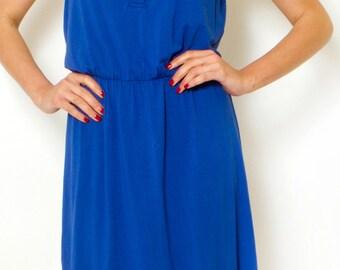 Cobalt Blue Day Dress Sleeveless Summer Dress Button Mini Dress