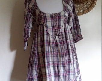 Plaid dress, XS, S, linen dress, prairie dress, smock dress, bib front dress, 70's dress, cotton dress, summer dress, spring dress