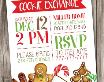 Christmas Cookie Exchange Invitation, Holiday Cookie Exchange Invitation, Cookie Swap Invitation #004