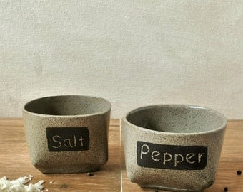 Salt & Pepper Cellars, Condiment Holder, Rustic Kitchen, Ceramic Vessel, Home Accents, Personal Salt Bowl, Round Boxes, Housewarming Gift