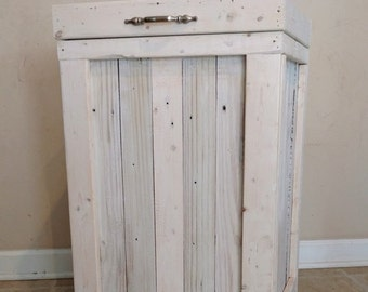 Wood Trash Bin, Kitchen Trash Can, Wood Trash Can, White Washed, Country Kitchen, Farmhouse Style, 30 Gallon Trash Can, Rustic Trash Can