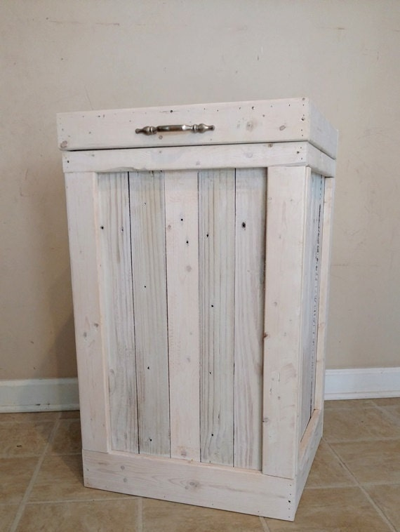 Wood Trash Bin Kitchen Trash Can Wood Trash Can White