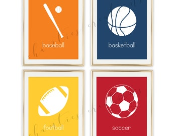 Sports Nursery Art Printable, Football, Sports Decor For Boys Room, Kids Playroom Art, Child Room Decor,  Set of 4 Prints