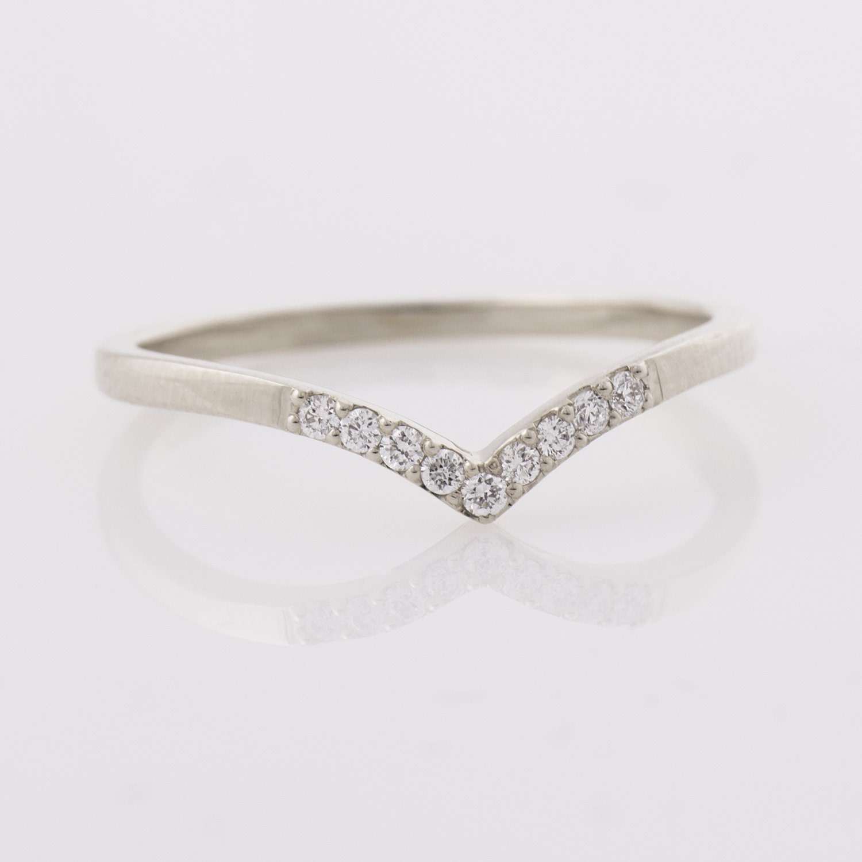 curved wedding band contour diamond wedding band Chevron Ring 14K White Gold Diamonds Ring V Shaped Ring Curved Ring Thin Diamond Ring Knuckle Ring Diamond Wedding Ring