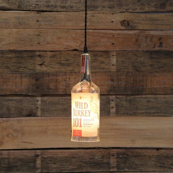 Wild Turkey 101 Bottle Pendant Light, Upcycled Industrial Hanging Light ,Handmade Bourbon Bottle Light Fixture Dorm Lighting Apartment Light