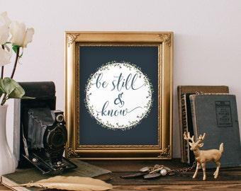 Be still print, Scripture art print, Christian art, Bible verse print art, Home decor, Bible verse, Art print, Psalm 46:10, Digital BD-542