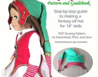 "Fant'sy Elf Hat PDF Pattern for 18"" Dolls"