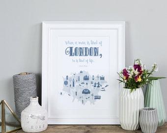 SALE - Modern London Print - London Gift - Travel Gifts - Modern City Art - London Quote - London Illustration - London Art Poster