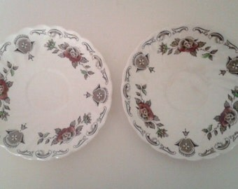 Antique 1940's 2 Myotts Bouquet Saucers Small Plates Brown White Transferware China Staffordshire England