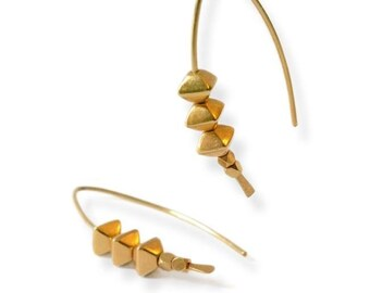 Modern open hoops ,24 carat goldplated solid Sterling silver earrings