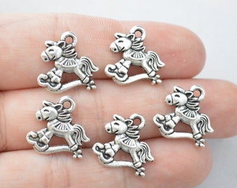 8 Pcs Rocking Horse Charms Antique Silver Tone 2 Sided 15x15mm - YD1054