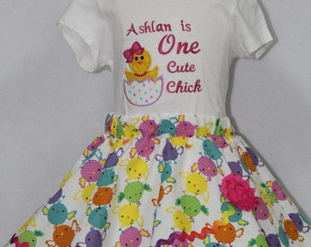 Girl Easter Dress, Girl Easter outfit,Personalized Easter shirt,Easter headband,Personalized Girl Easter outfit, One cute chick,Easter skirt