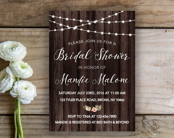 Rustic Bridal Shower Invite Printable Invitation Wedding Shower Rustic Wedding Shower Invitation Rustic Invitation Rustic Shower Invite