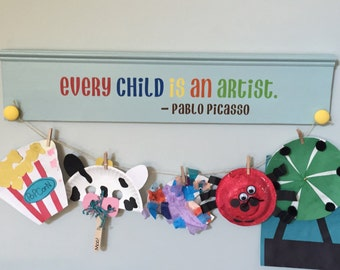 Kids art display, Childrens artwork holder, Kids artwork display, Childrens wooden wall art, Kids room decor.