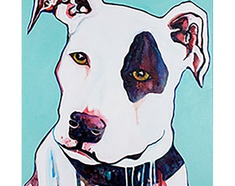 Dog Art Print // Limited Edition // Bull Terrier // Turquoise // Art Dog // Dog Painting