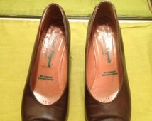 Vintage Robert Clergerie brown highheel business suit designer haute couture shoes made in France
