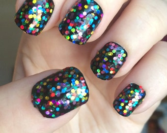Rainbow Holographic Nail Polish, Dottie Polish, Holo Nail Polish, Rainbow Nail Polish, Glitter Nail Polish, Rainbow Glitter, Hexagon Glitter