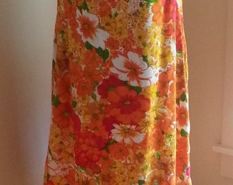 Handmade Orange Yellow Red White Floral Print Sleeveless Dress