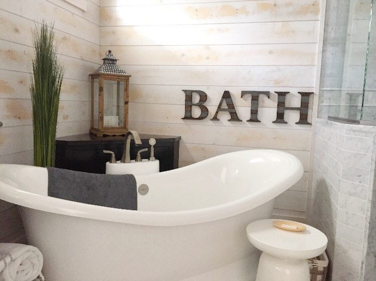 10 Must Have Bathroom Accessories: Rustic Bathroom Decor Wall Letters BATH Bathroom Wall