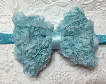 Icy Blue Shabby Rose Flower Bow on Frosted Turquoise Elastic Headband (HB-23), Shabby Rose Headband, Baby Headband, Girls Headband