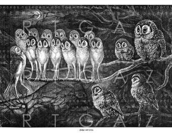 Night Trial LOUIS WAIN Owl Illustration Owls Jury Owl Judge Digital OWL Download Fab Rare Black & White A3 Vintage Owl Print