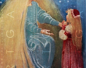 The Princess and the Goblin. Striking Digital Vintage Fairy Tale Illustration. Digital Fairy Download. Fairy Wall Art.
