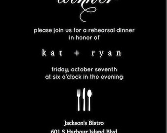 Black Rehearsal Dinner Invitation